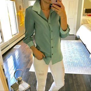 Brooklyn Industries green 2 tone button down shirt